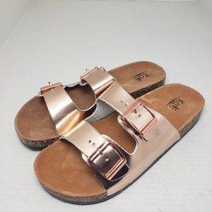 Kali Eagle Rose Gold Open Toe Backless Sandals